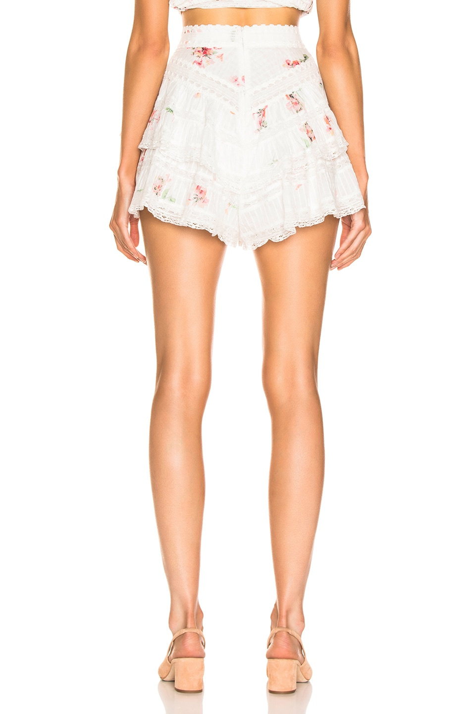 Image 3 of Zimmermann Heathers Pintuck Frill Short in Floating Bouquet