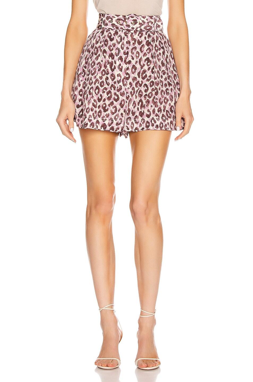 Image 1 of Zimmermann Super Eight Silk Safari Short in Candy Leopard
