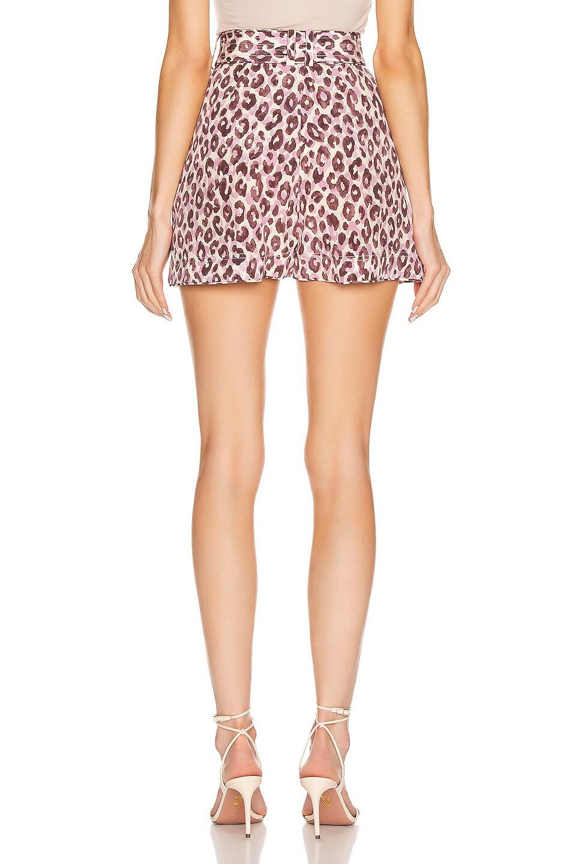 Image 3 of Zimmermann Super Eight Silk Safari Short in Candy Leopard