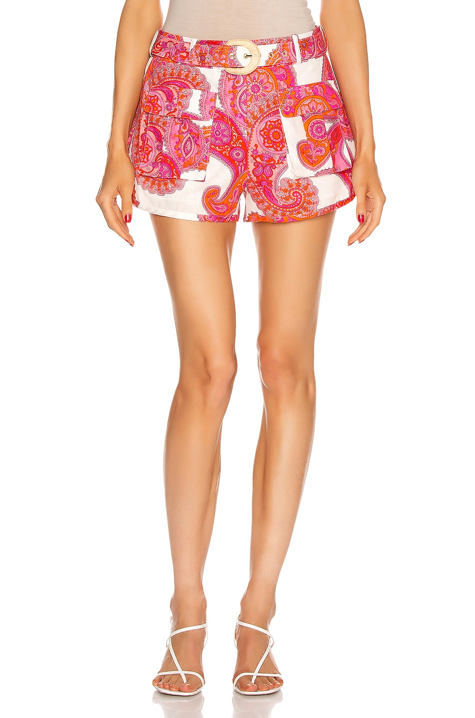Image 1 of Zimmermann Peggy Safari Pocket Short in Magenta Ivory Paisley