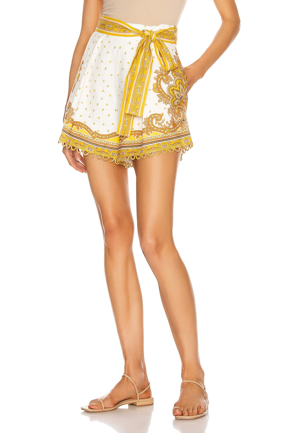Image 1 of Zimmermann Bells Paisley Tuck Short in Yellow Paisley