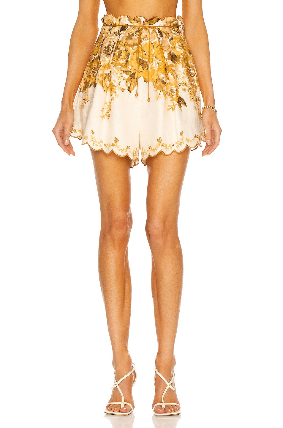 Image 1 of Zimmermann Aliane Scallop Short in Amber Floral