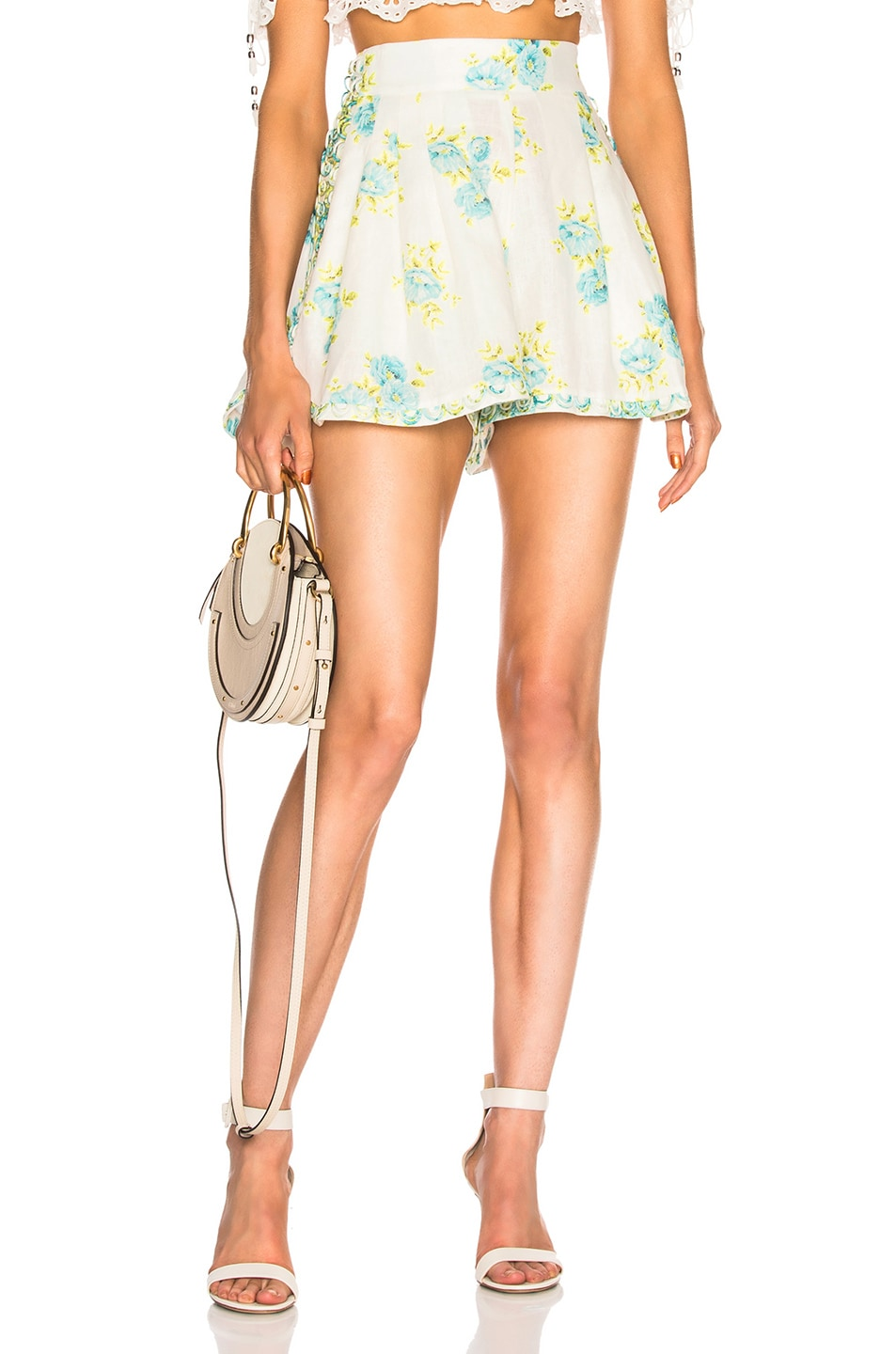 Image 1 of Zimmermann Breeze Honeymooners Short in Teal Poppy Floral