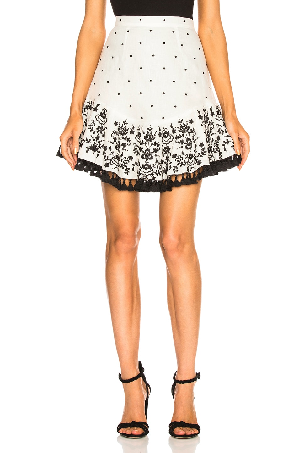c2612311c9 Image 1 of Zimmermann Tali Embroidered Lotus Skirt in Ivory