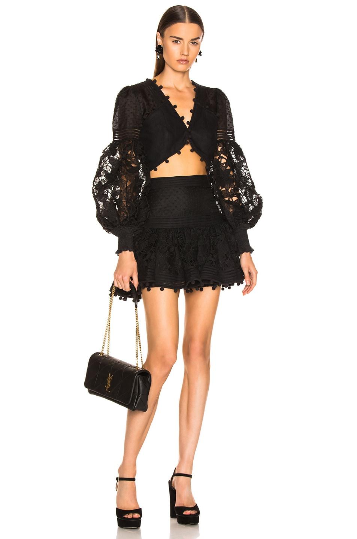 Image 4 of Zimmermann Corsage Embellished Mini Skirt in Black
