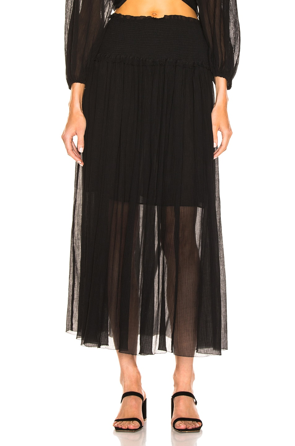 Image 1 of Zimmermann Primrose Crinkle Skirt in Noir