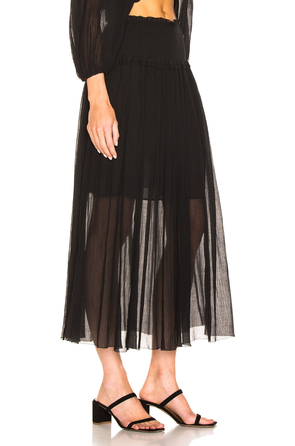 Image 2 of Zimmermann Primrose Crinkle Skirt in Noir