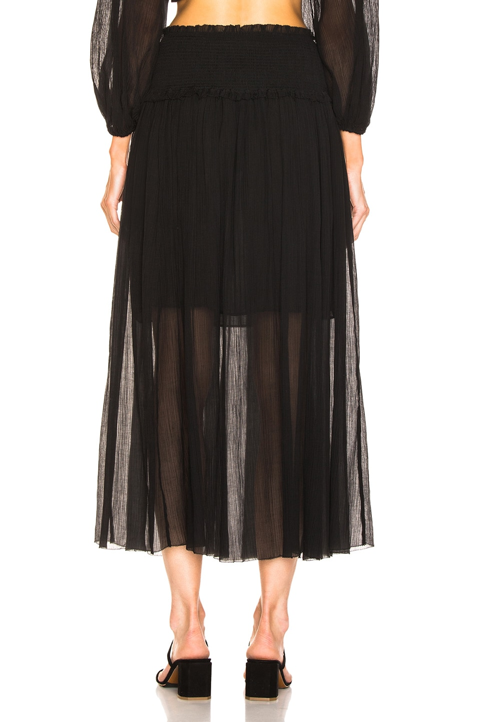 Image 3 of Zimmermann Primrose Crinkle Skirt in Noir