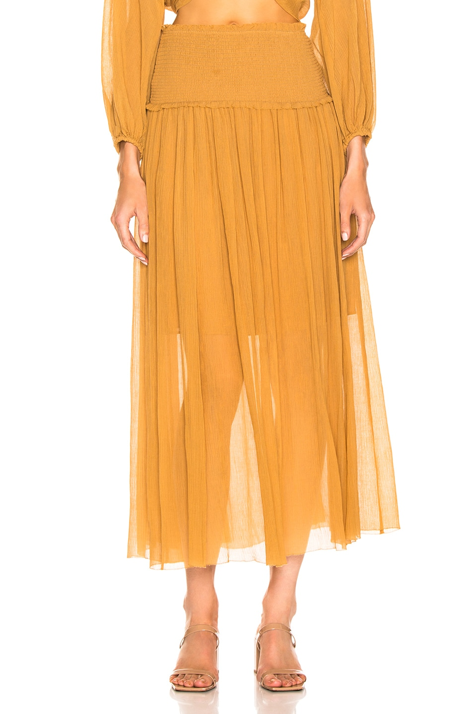 Image 1 of Zimmermann Wayfarer Crinkle Skirt in Mustard