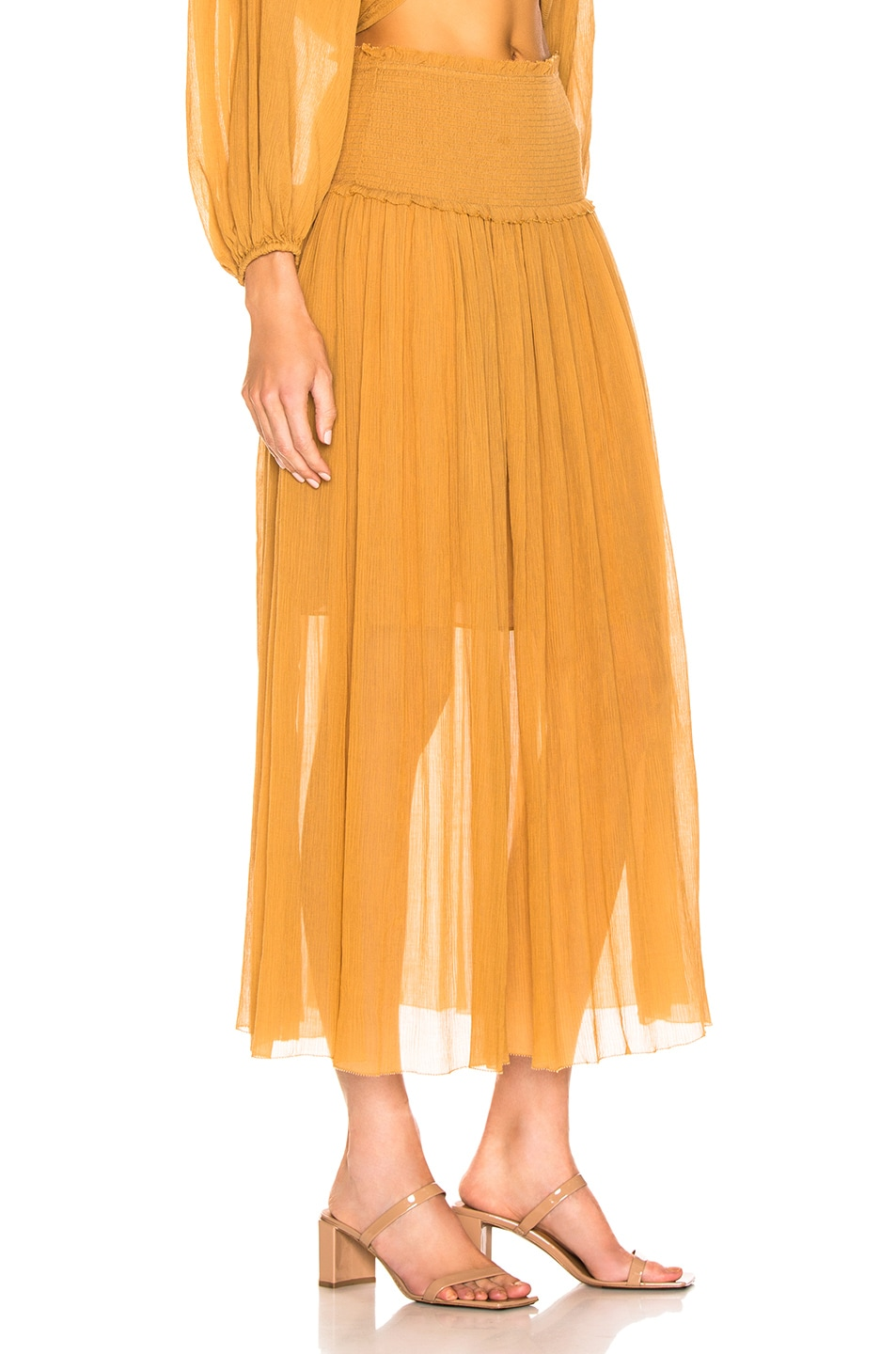 Image 2 of Zimmermann Wayfarer Crinkle Skirt in Mustard