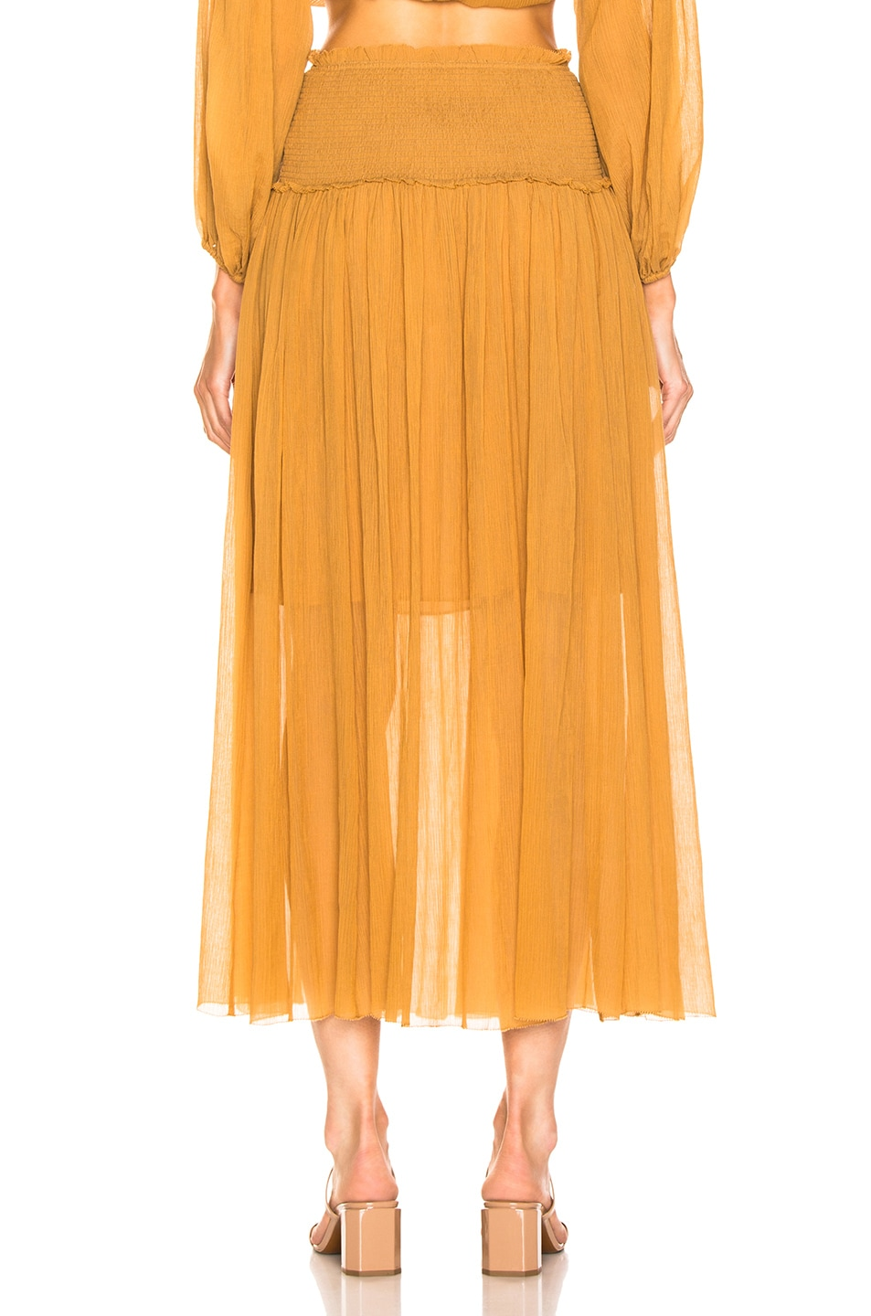 Image 3 of Zimmermann Wayfarer Crinkle Skirt in Mustard