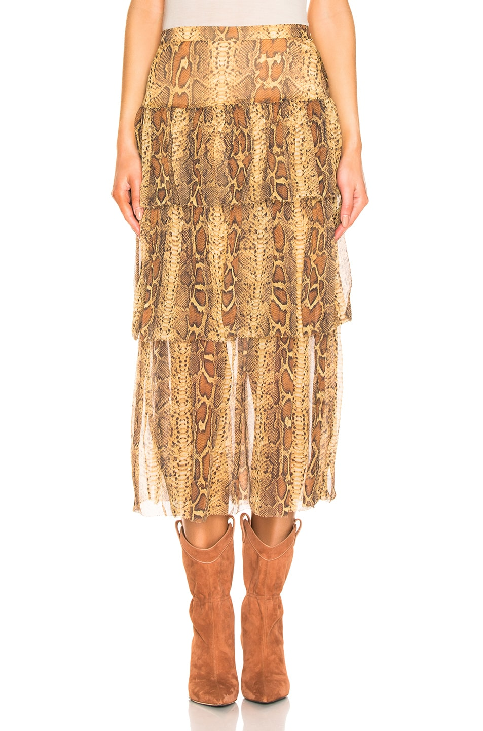 Image 1 of Zimmermann Ninety Six Fluted Skirt in Cognac Snake