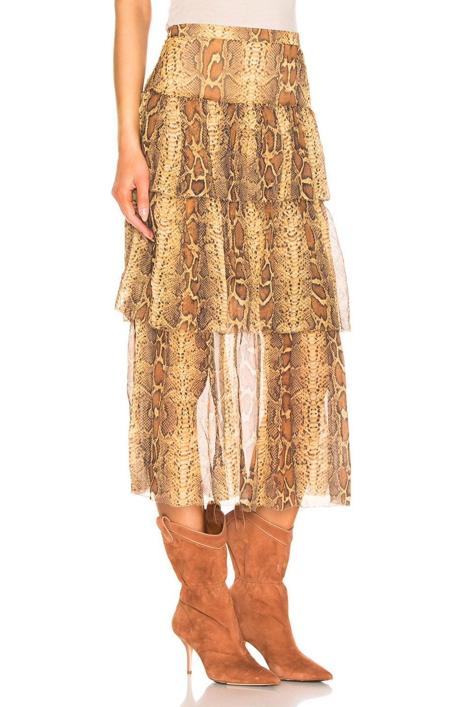 Image 2 of Zimmermann Ninety Six Fluted Skirt in Cognac Snake