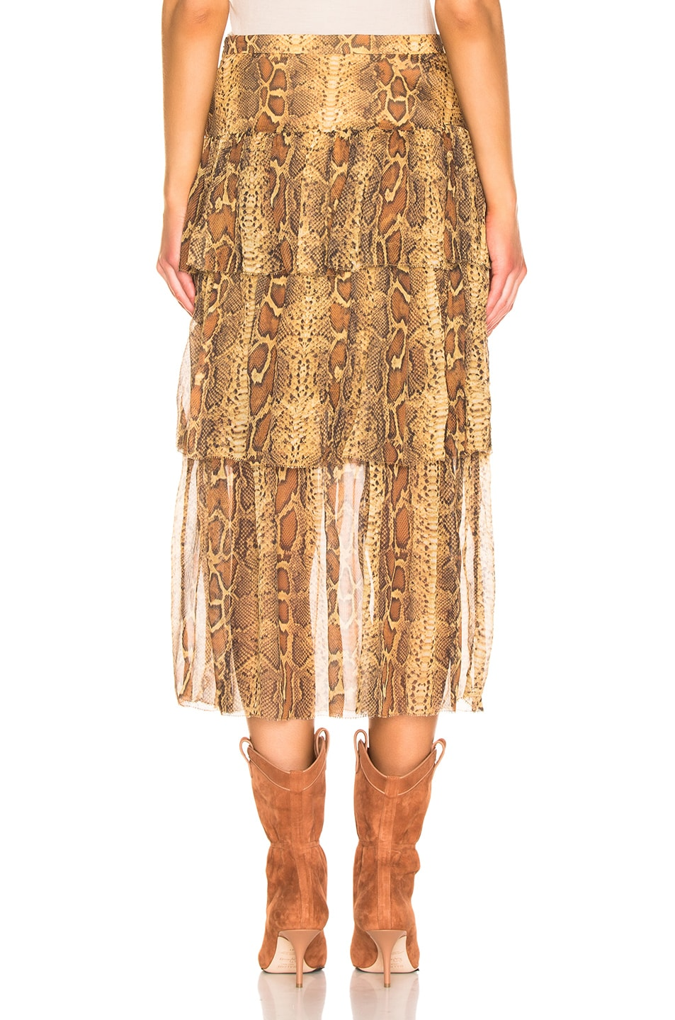 Image 3 of Zimmermann Ninety Six Fluted Skirt in Cognac Snake