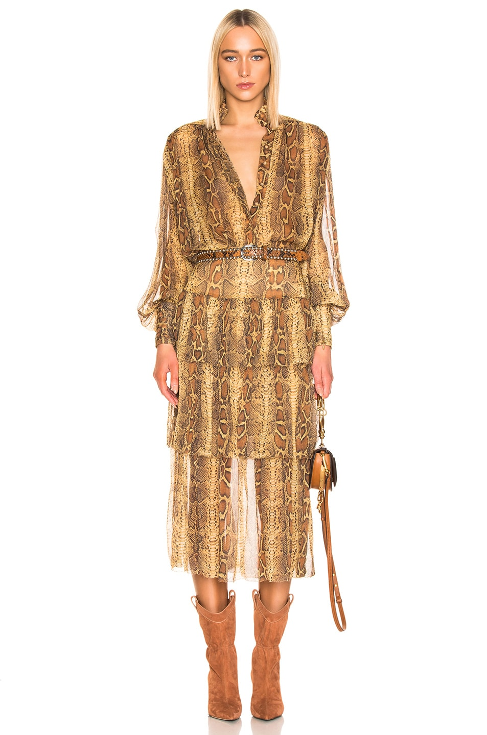 Image 4 of Zimmermann Ninety Six Fluted Skirt in Cognac Snake