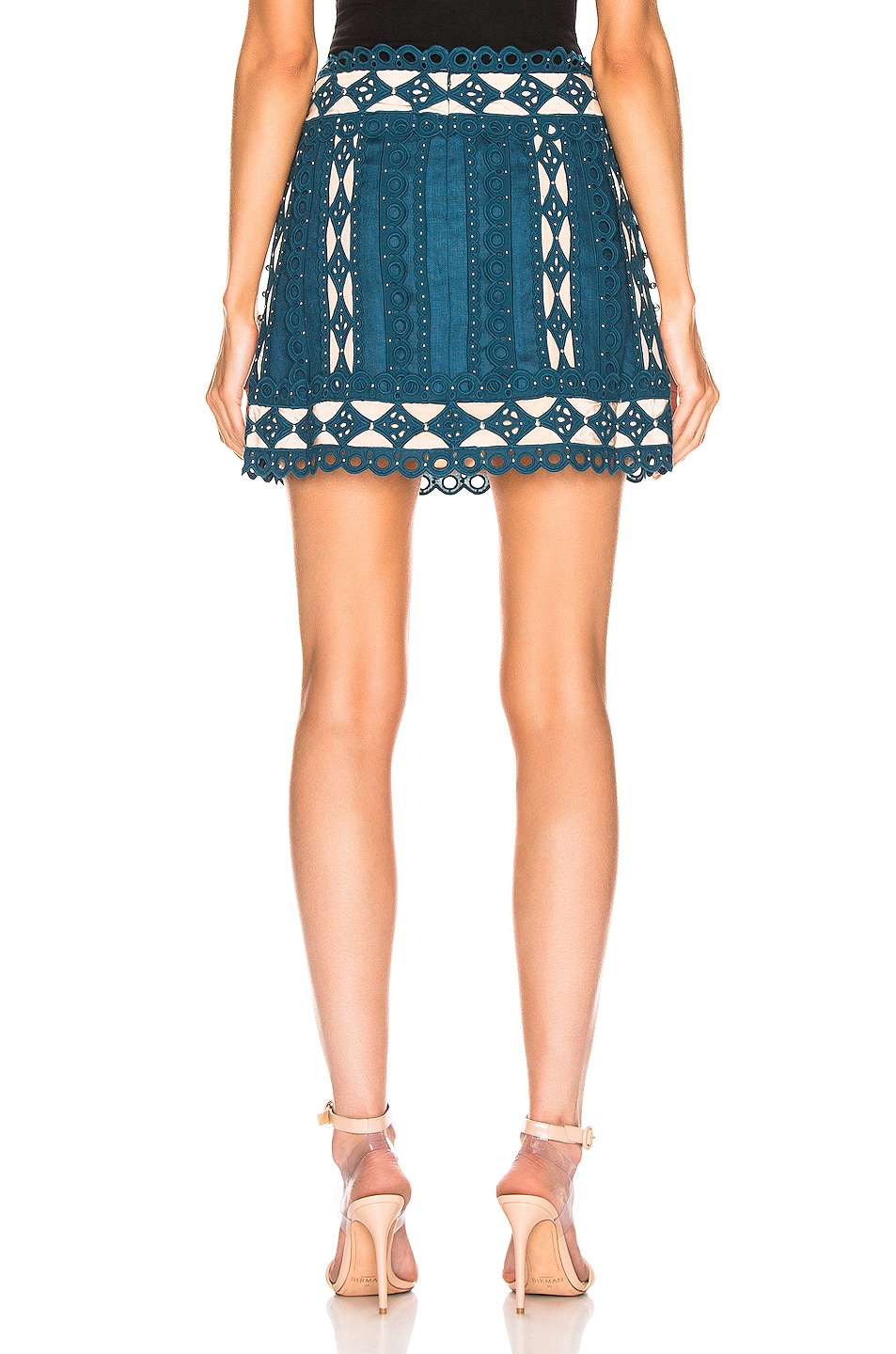 Image 3 of Zimmermann Moncur Studded Mini Skirt in Teal
