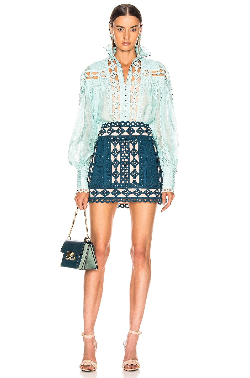 Image 4 of Zimmermann Moncur Studded Mini Skirt in Teal