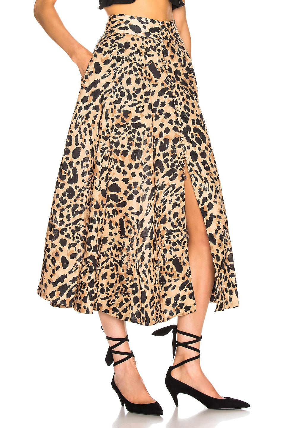Image 2 of Zimmermann Veneto High Waisted Flare Skirt in Leopard