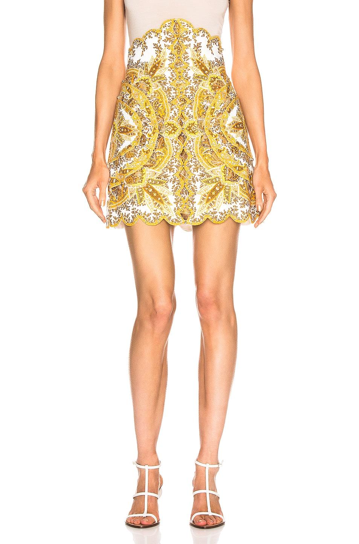 Image 1 of Zimmermann Zippy Scallop Skirt in Golden Paisley