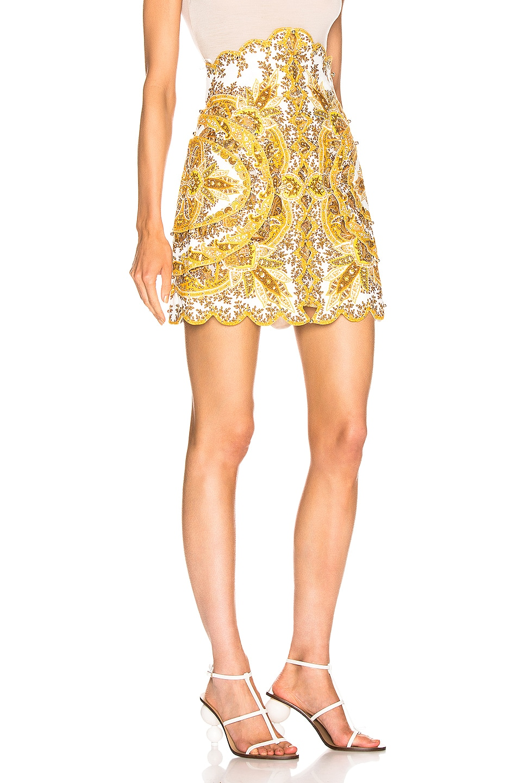 Image 2 of Zimmermann Zippy Scallop Skirt in Golden Paisley