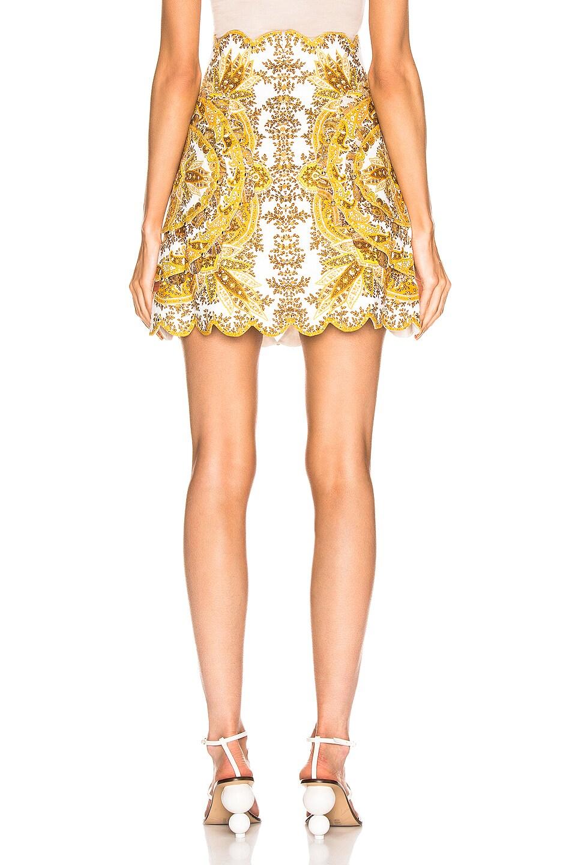 Image 3 of Zimmermann Zippy Scallop Skirt in Golden Paisley