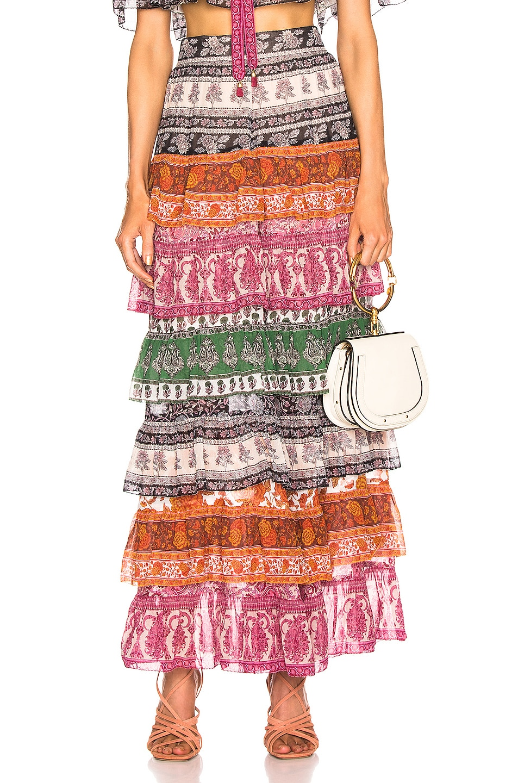 Image 1 of Zimmermann Amari Tiered Midi Skirt in Spliced