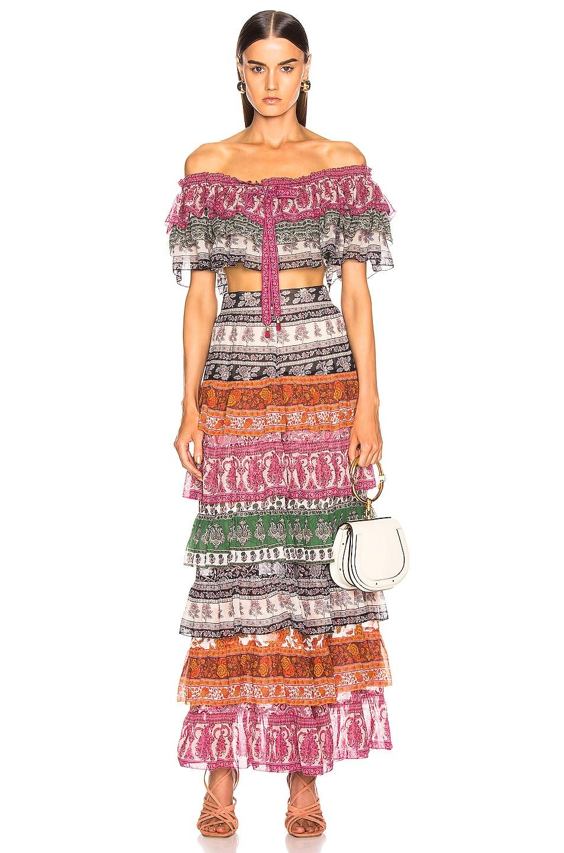 Image 4 of Zimmermann Amari Tiered Midi Skirt in Spliced