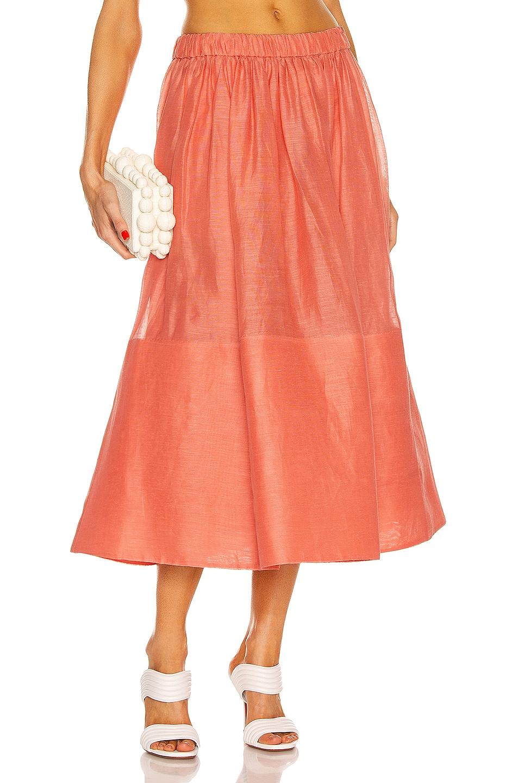 Image 1 of Zimmermann Botanica Midi Skirt in Guava
