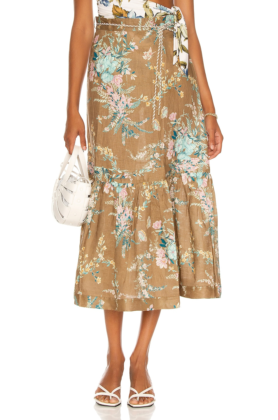 Image 1 of Zimmermann Cassia Tiered Skirt in Brown Floral
