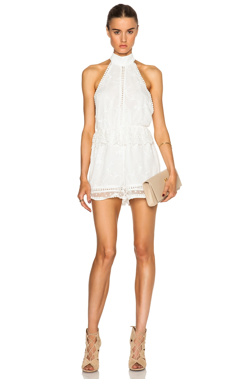 Image 1 of Zimmermann Admire Cherry Romper in Ivory