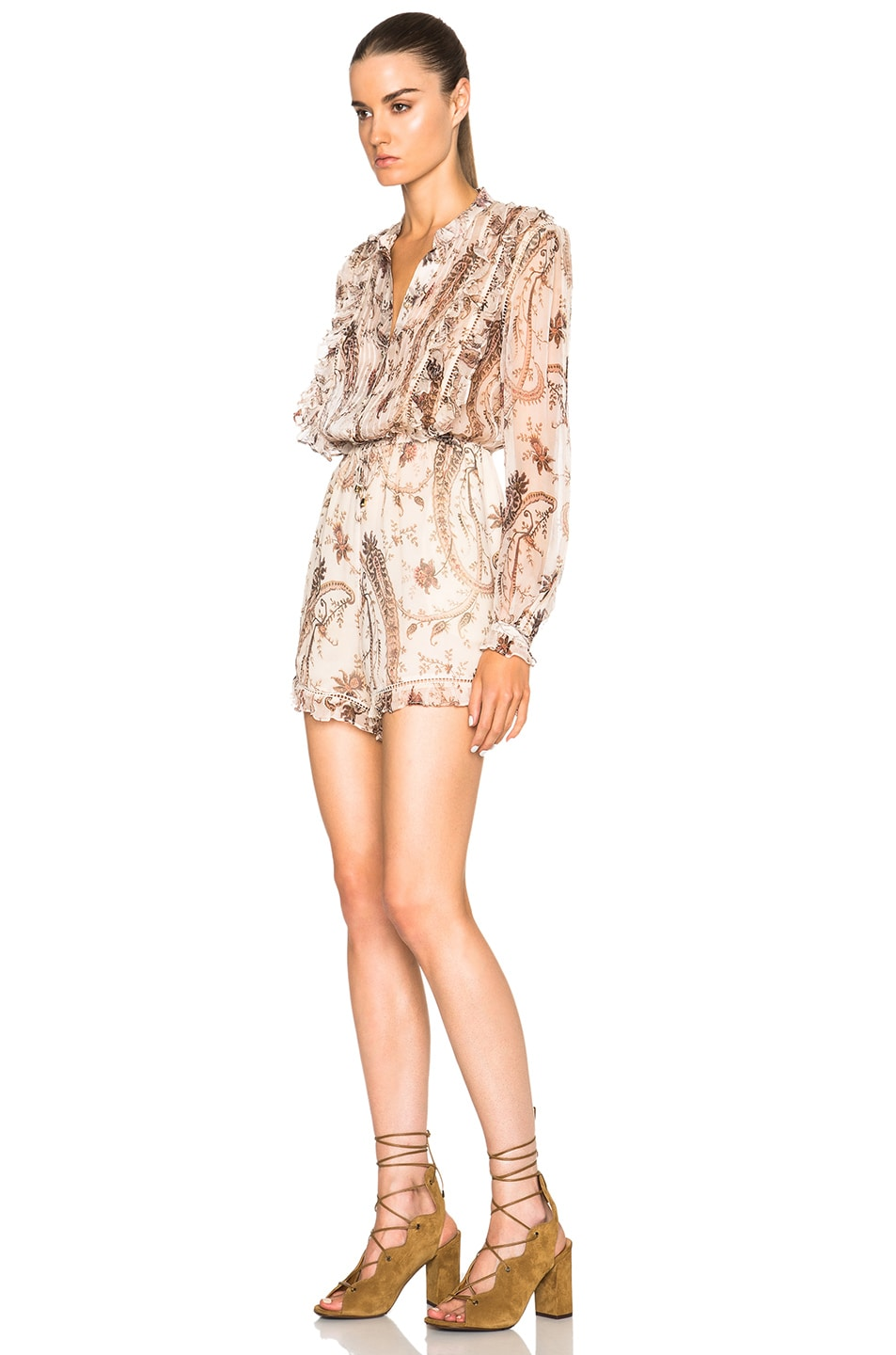 260ed0b9383 Image 2 of Zimmermann Mischief Frill Romper in Paisley