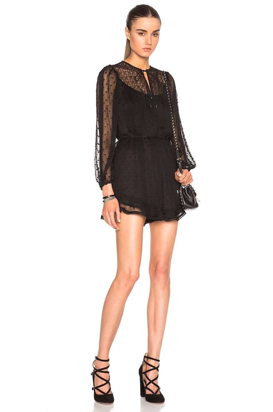 Image 1 of Zimmermann Belle Web Dot Romper in Noir