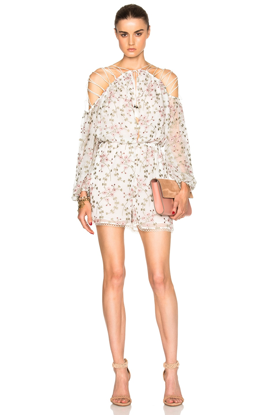Image 1 of Zimmermann Eden Laced Romper in Floral Embroidery