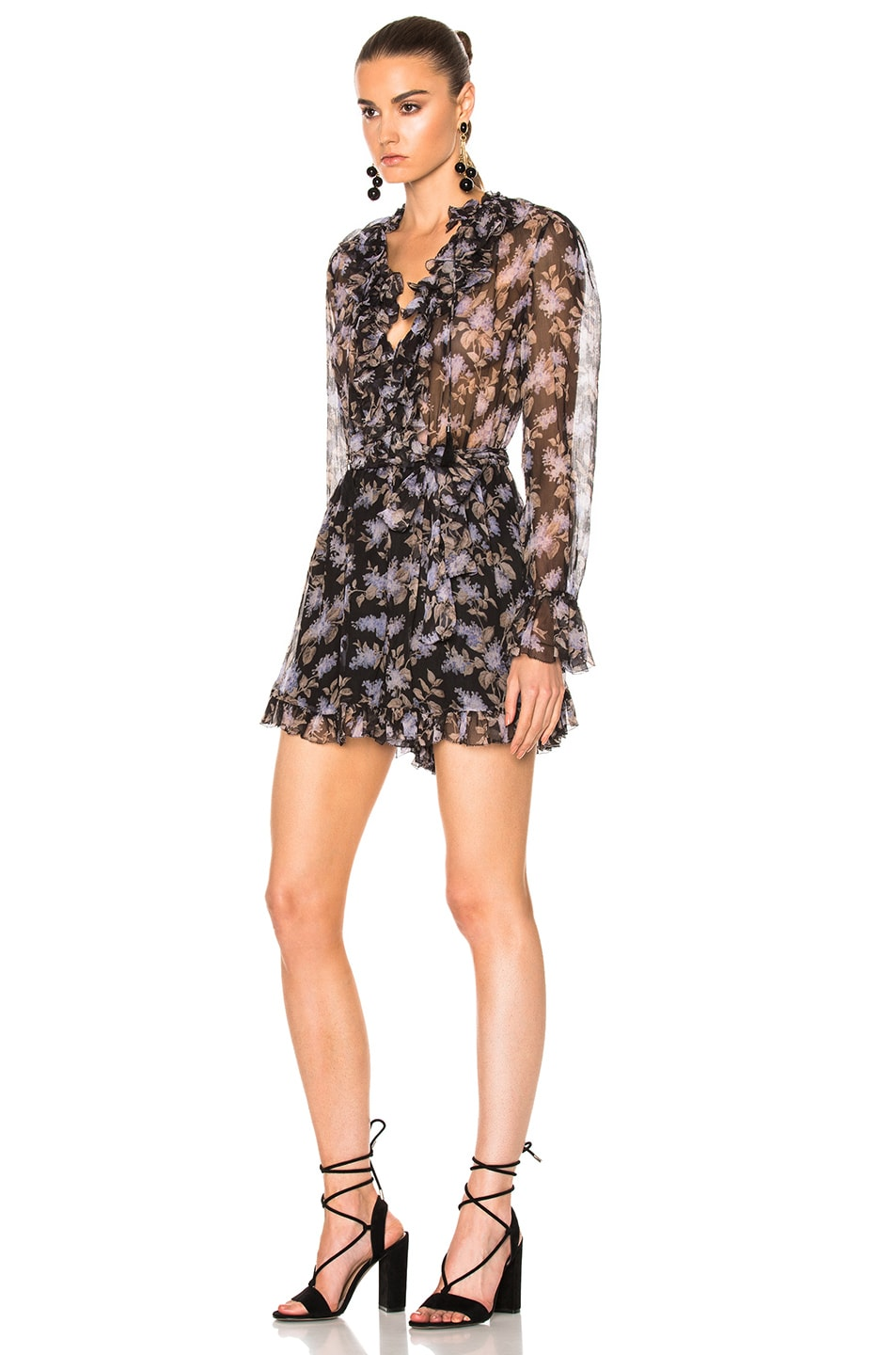 e84381de441 Image 2 of Zimmermann Stranded Ruffle Playsuit in Black Lavender Floral