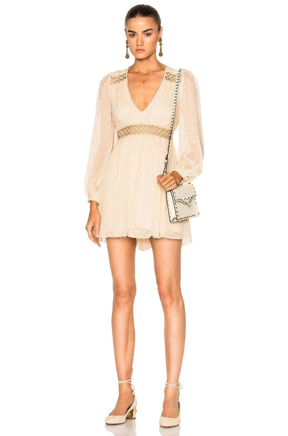 Image 1 of Zimmermann Bowerbird Empire Playsuit in Nude Dot