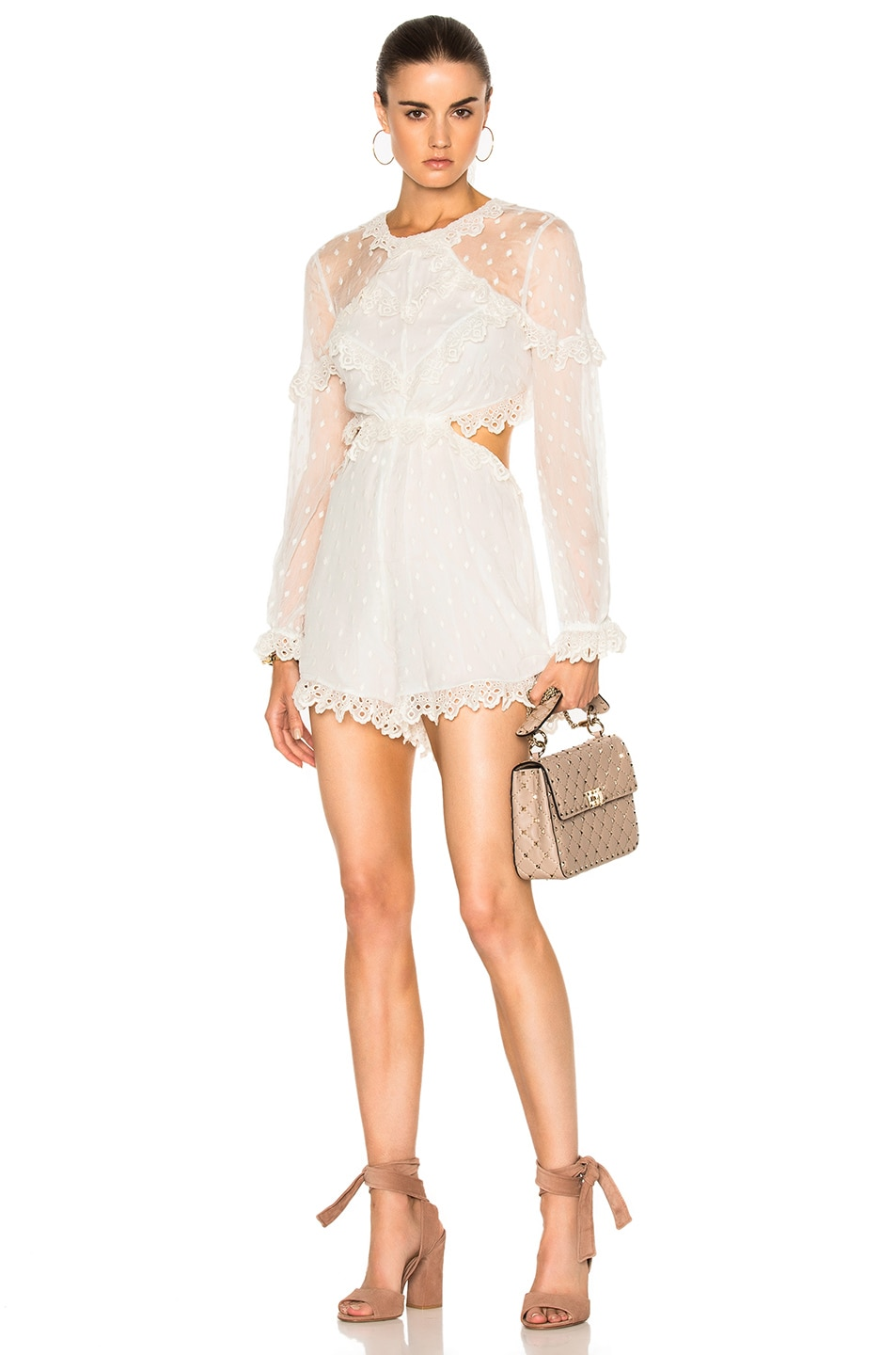 c88aeb4236 Image 2 of Zimmermann Divinity Scallop Ruffle Playsuit in Ivory
