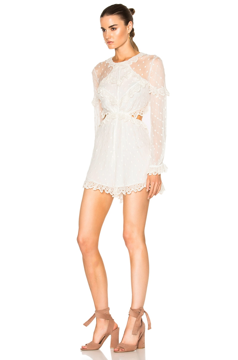 425a5f1017 Image 3 of Zimmermann Divinity Scallop Ruffle Playsuit in Ivory