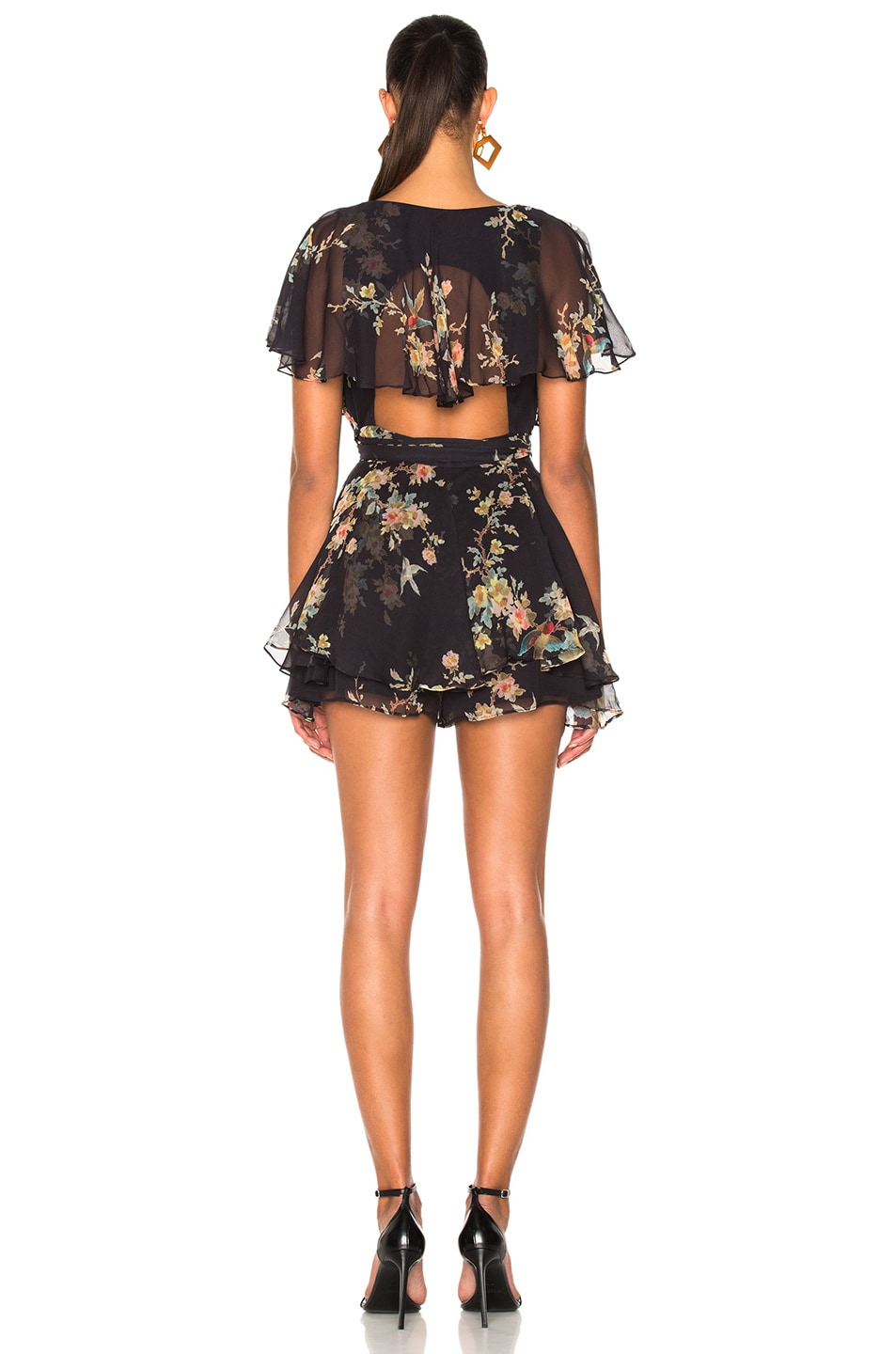 d7d31781b4f Image 4 of Zimmermann Maples Wrap Playsuit in Black Bird Floral