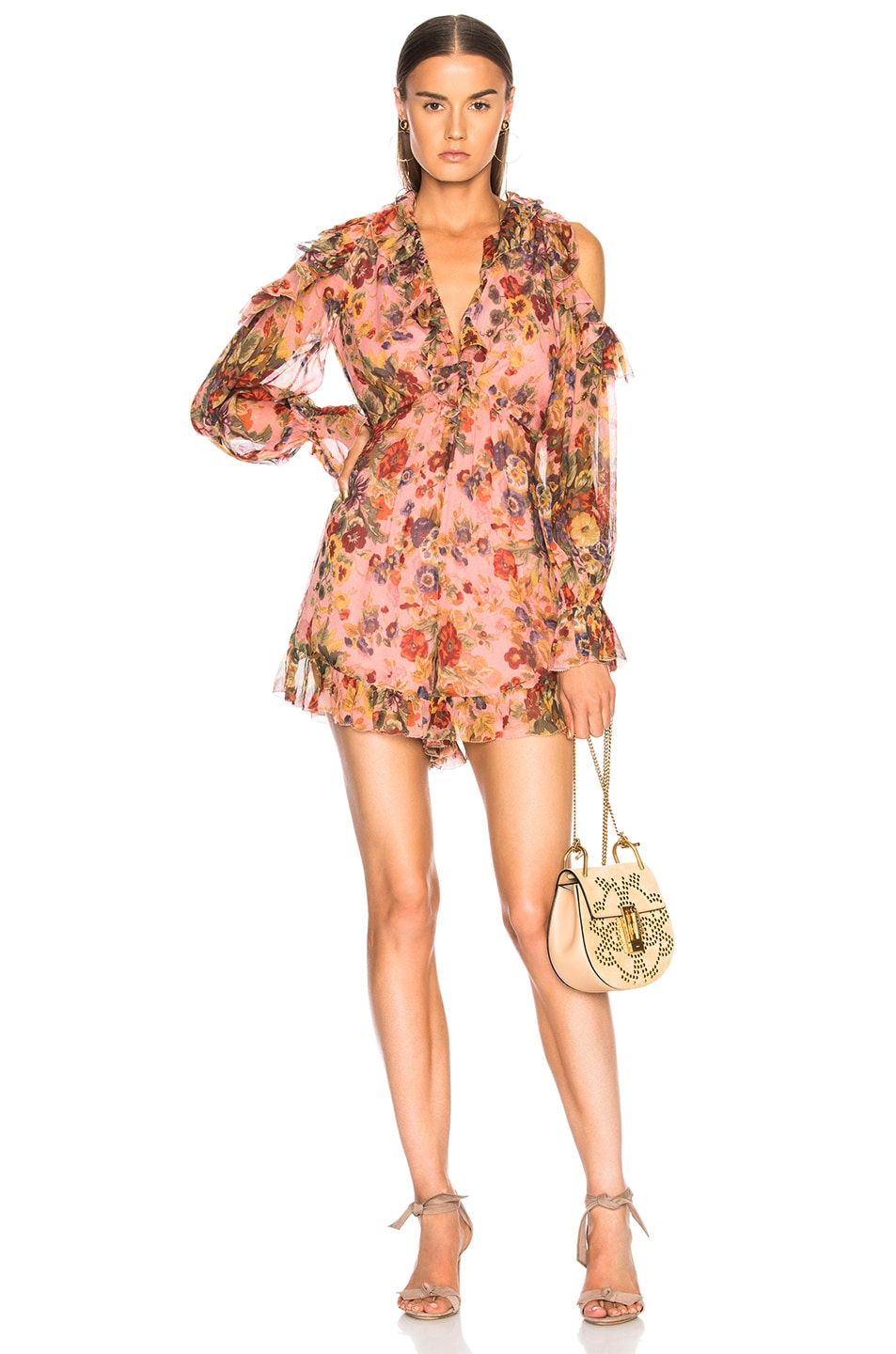 34057d29c6e4 Image 1 of Zimmermann Lovelorn Frill Playsuit in Pink Floral