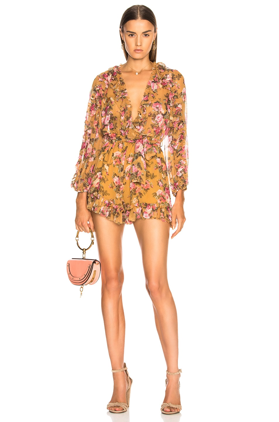 Image 1 of Zimmermann Golden Ruffle Playsuit in Sienna Bouquet Floral