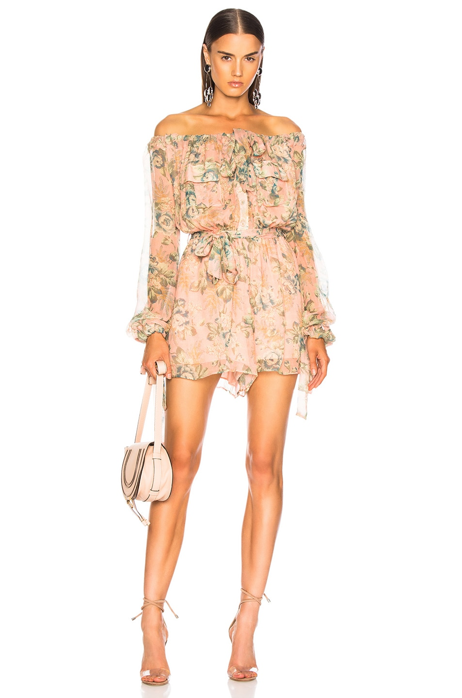 Image 1 of Zimmermann Tempest Gathers Playsuit in Rouge Desert Rose