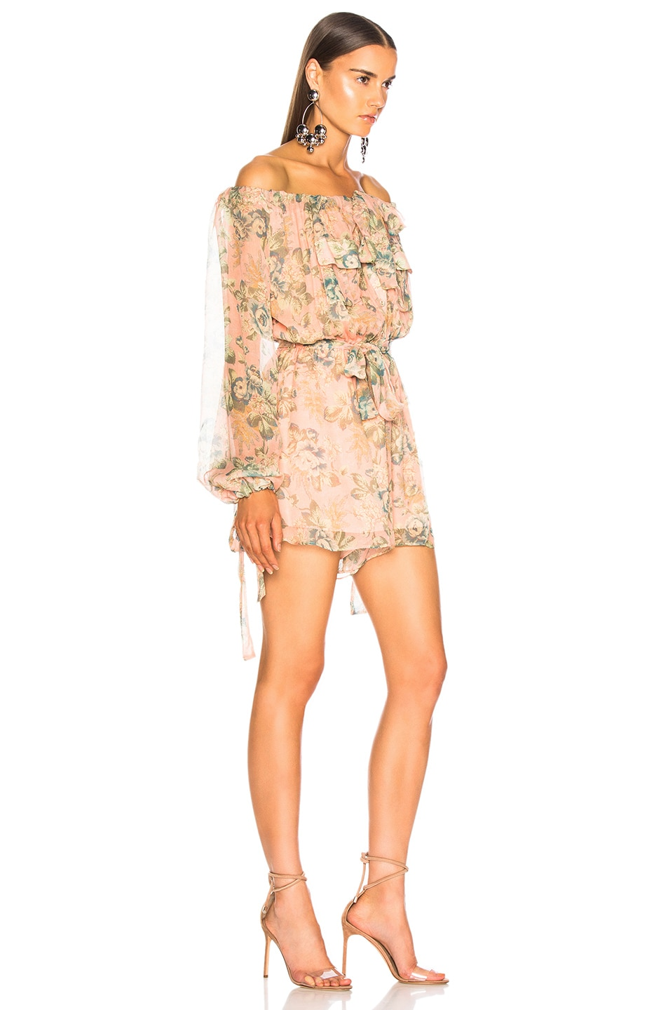 Image 2 of Zimmermann Tempest Gathers Playsuit in Rouge Desert Rose