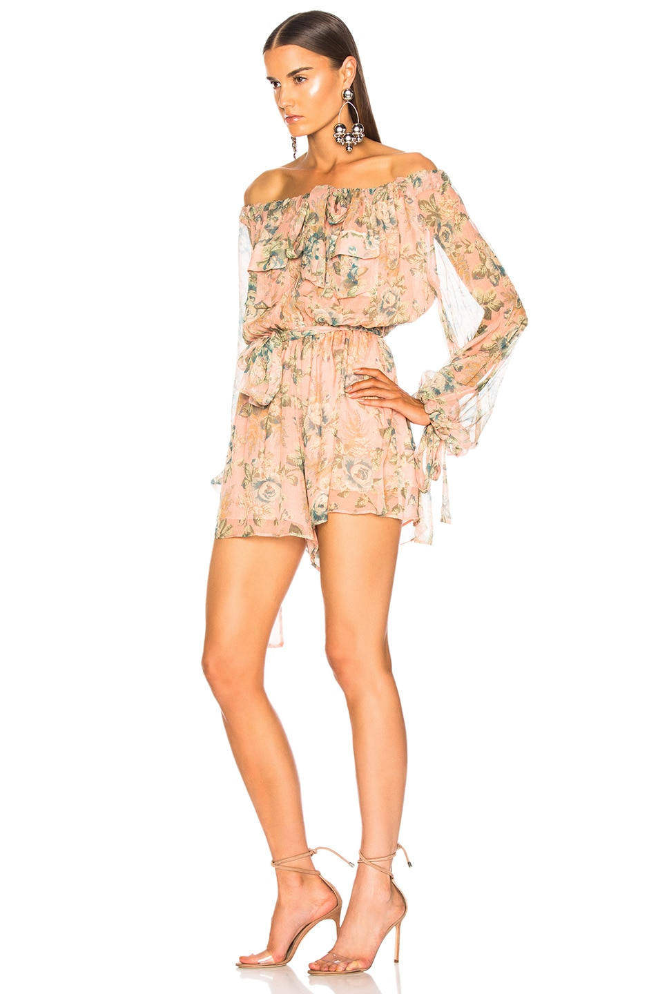 Image 3 of Zimmermann Tempest Gathers Playsuit in Rouge Desert Rose