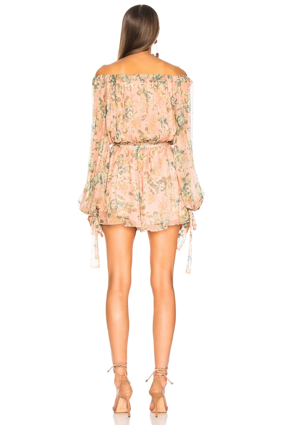 Image 4 of Zimmermann Tempest Gathers Playsuit in Rouge Desert Rose