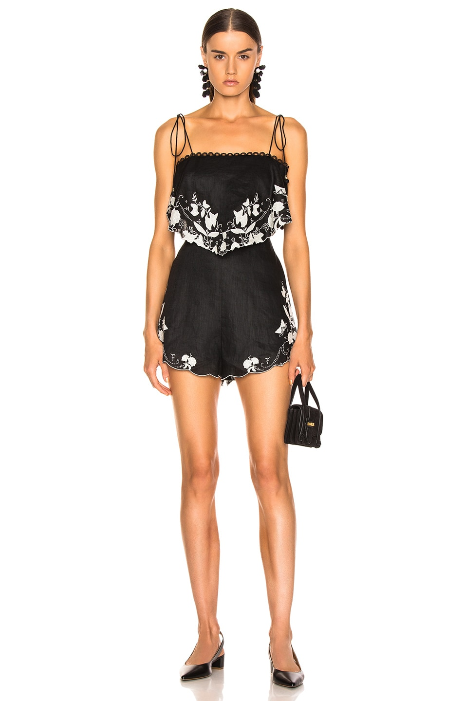 Image 1 of Zimmermann Juniper Applique Playsuit in Black