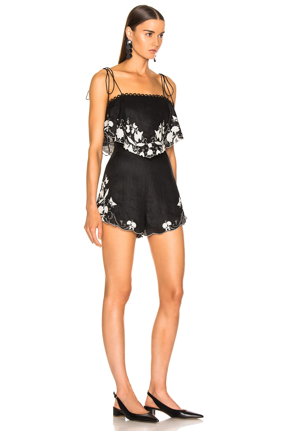 Image 2 of Zimmermann Juniper Applique Playsuit in Black