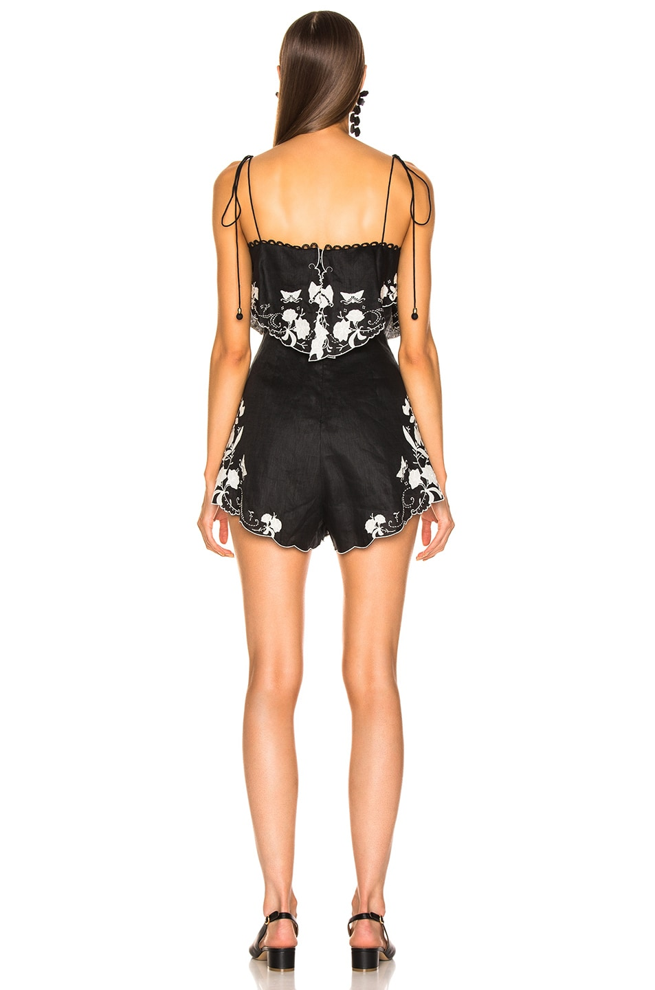 Image 3 of Zimmermann Juniper Applique Playsuit in Black