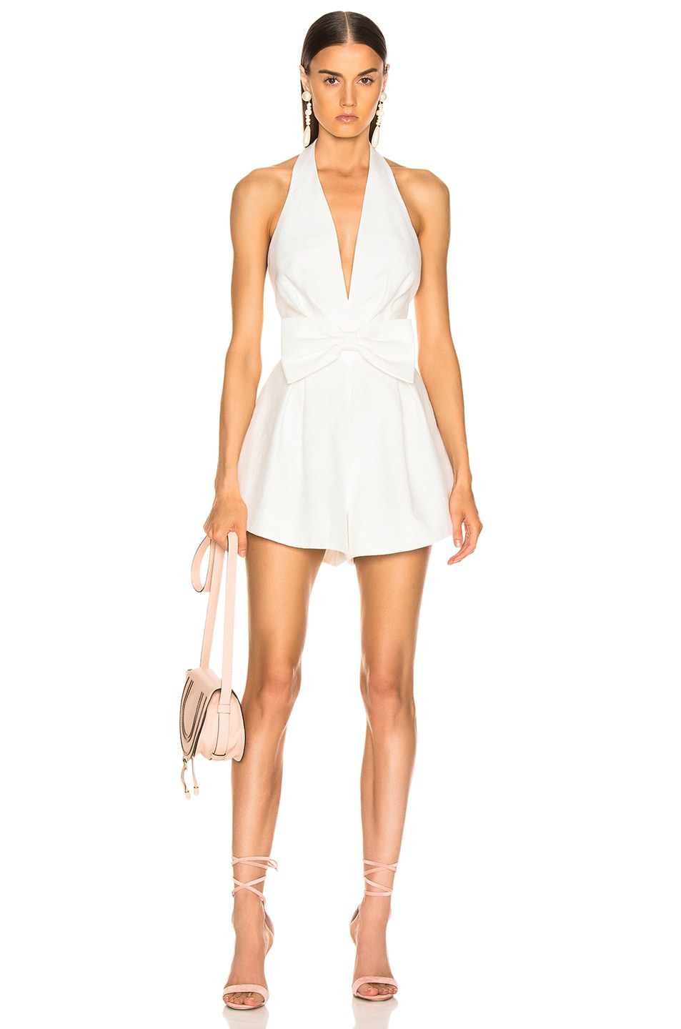 Image 1 of Zimmermann Corsage Tie Playsuit in Ivory