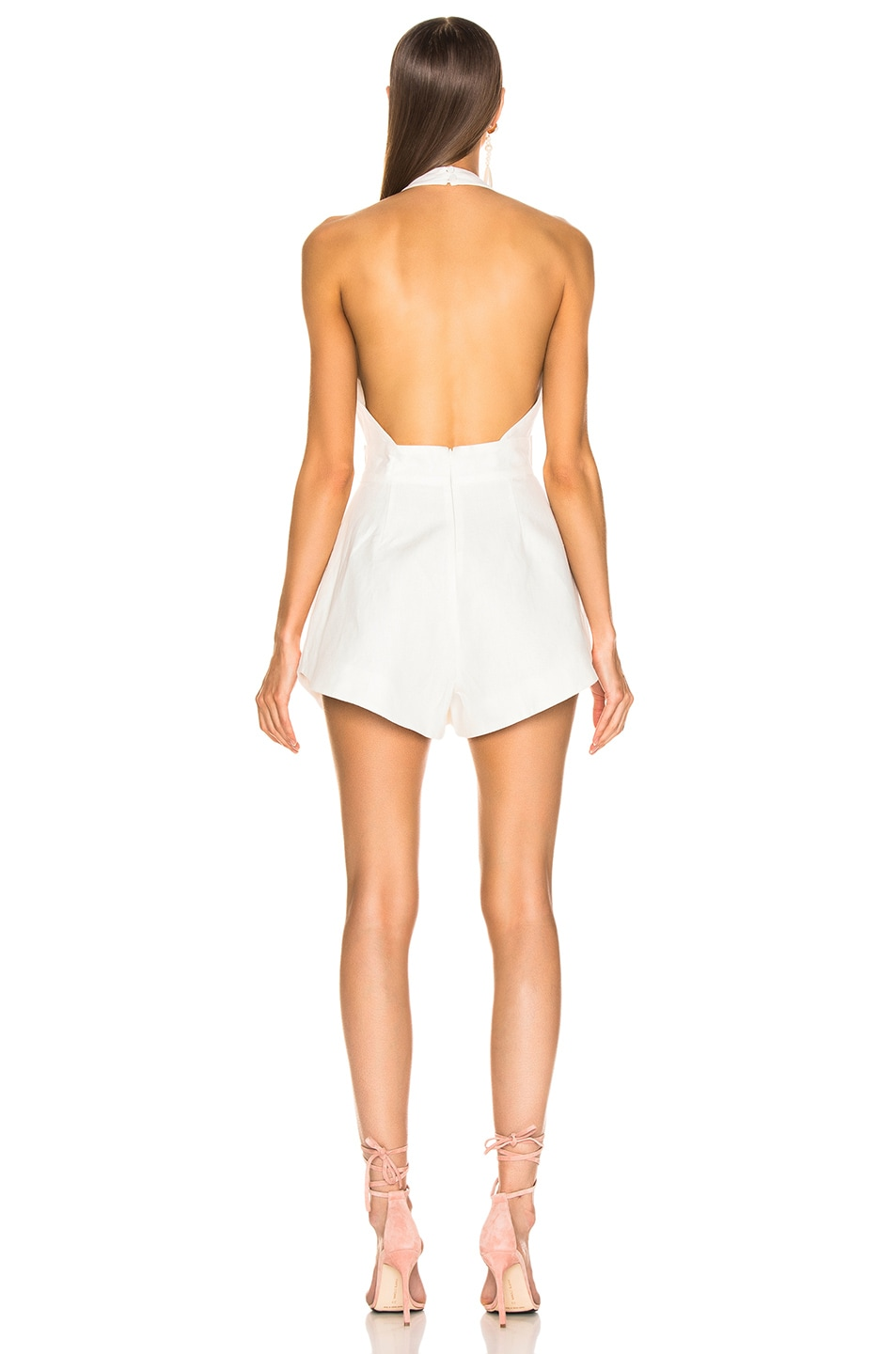 Image 3 of Zimmermann Corsage Tie Playsuit in Ivory