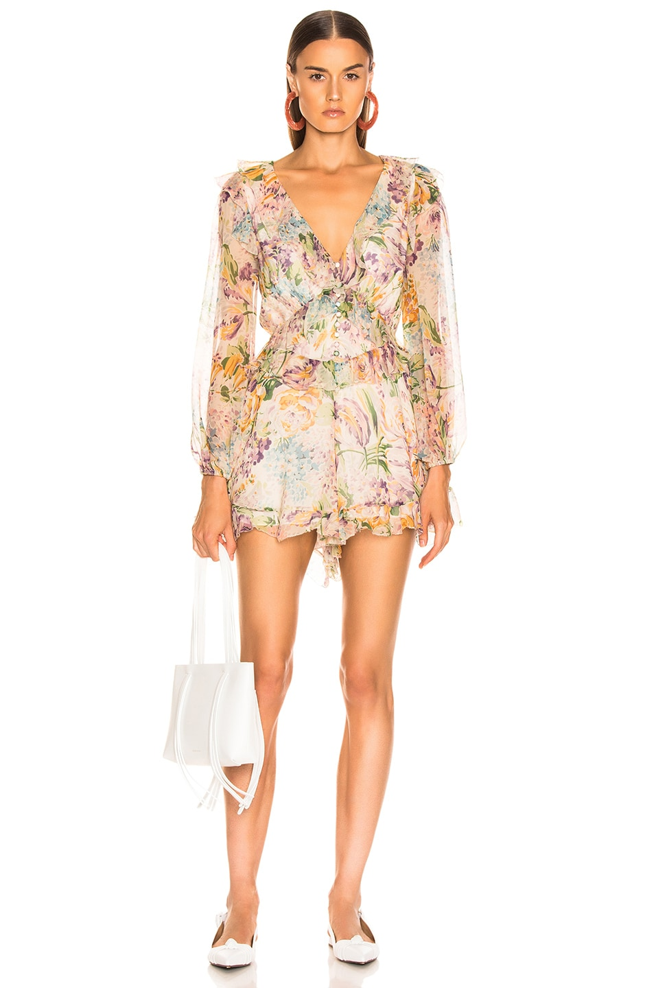 Image 1 of Zimmermann Ninety Six Flutter Playsuit in Tulip Floral